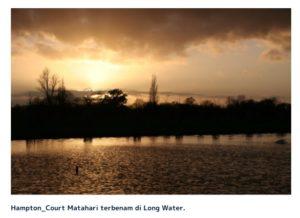 Hampton_Court Matahari terbenam di Long Water.