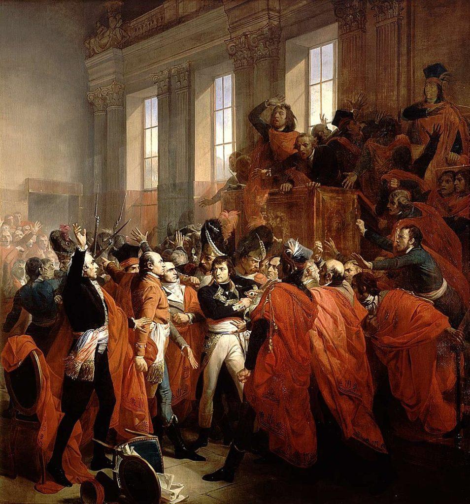 五百人評議会のメンバーに囲まれたボナパルト将軍は、 フランソワ・ブシュ