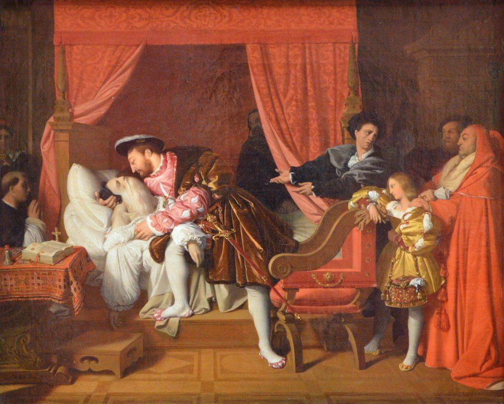 フランシスコ1世は、1819年に描かれたイングレスによって、1519年にレオナルドダヴィンチの最後の息を受け取りました。