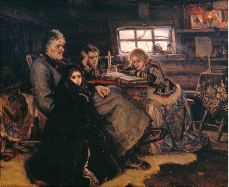 シベリアに追放されたメキシコフと娘たち 画:ヴァシーリー