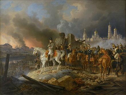 1812年9月にモスクワの火を見ているナポレオン