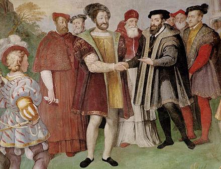 フランシスコ1世とチャールズ5世、神聖ローマ皇帝は1538年にニースの停留所で和解しました。フランシスは実際にチャールズと直接会うことを拒否し、条約は別の部屋で署名されました。
