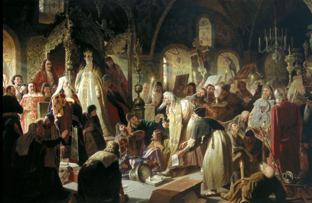 ソフィアと総主教ヨアヒムは、古い信者 ニキータ・プストスヤットの指導者との宗教的論争で。ヴァシリー・ペローの絵画、1881