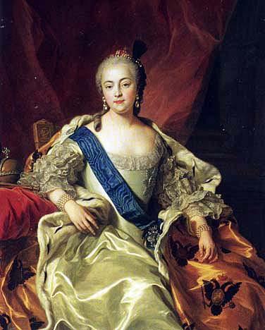 チャールズ・ファン・ルーが描いたエリザベス・ペトロヴナの理想的な正面肖像画