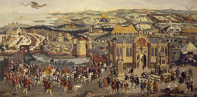 彫刻金の布のキャンプ、ジェームズバーシアの1774の油絵によると、xvi 番目の 世紀。