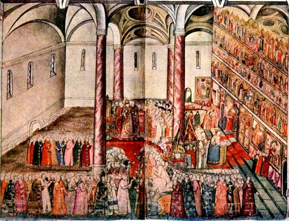 アサンプション大聖堂での皇帝ミハイル・フェドロヴィッチ王国での結婚式