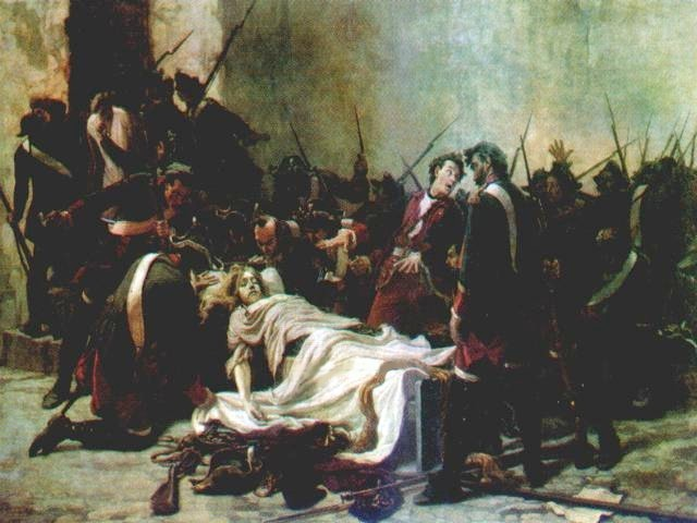 イヴァン6世の遺体の前にいるミロヴィッチ