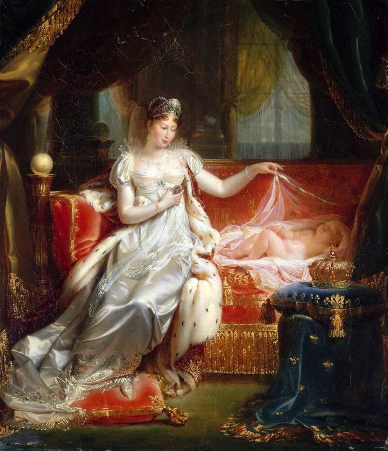 二番目の妻 マリ・ルイーズ ナポレオン2世とともに (画)ジョゼフ=ボニファス・フランク