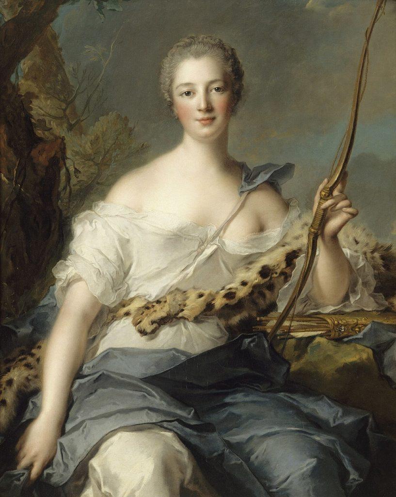 Madame de Pompadour as Diana the Huntress, portrait by Jean-Marc Nattier