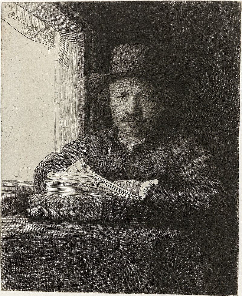 レンブラント 窓際の自画像描画(彫刻、1648)