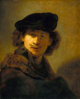 レンブラントの自画像 ベルベットベレー帽と毛皮のマントル 1634の自画像