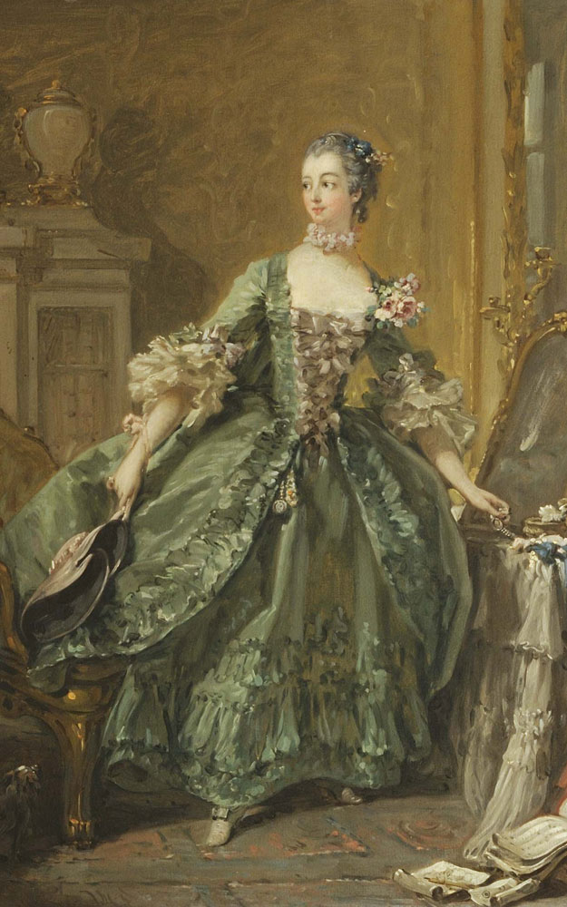Francois Boucher allows the onlooker to glimpse Madame de Pompadour as she prepares to go out, hat in one hand and a pearl bracelet with a portrait of the king in the other, c. 1750