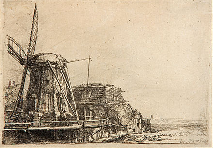 風車、1641、エッチング レンブラント
