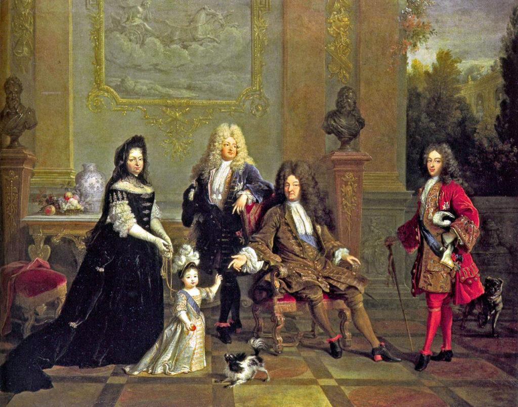 晩年のルイ14世とその家族。 左から曾孫のブルターニュ公ルイと家庭教師、嫡男の王太子ルイ、ルイ14世、孫のブルゴーニュ公ルイ。 作者不明、1710年頃。