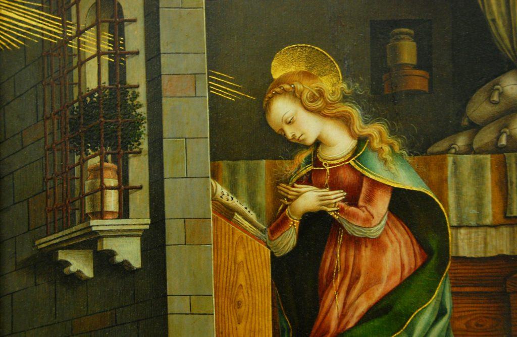 処女受胎告知、1482年(詳細)