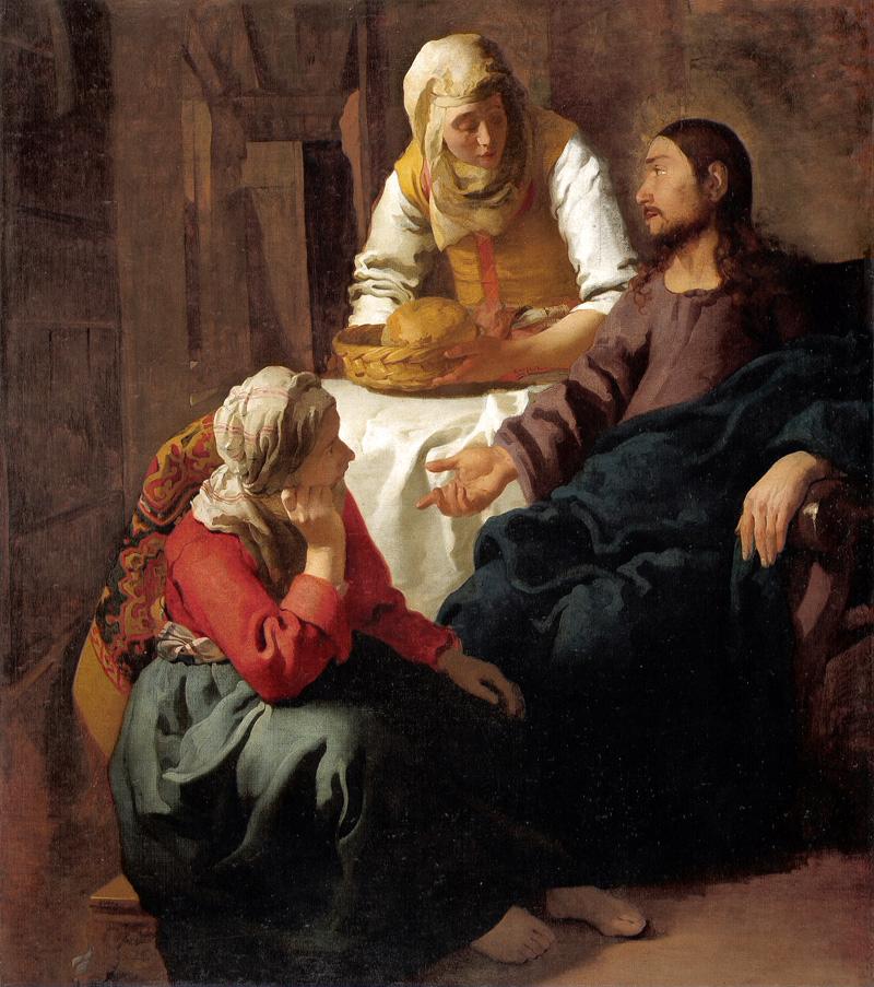 『マリアとマルタの家のキリスト』1654年-55年頃。スコットランド国立美術館(エディンバラ)。