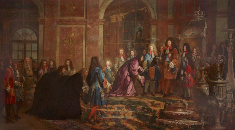 ヴェルサイユ宮殿の鏡の間でジェノヴァ総督の謁見を受けるルイ14世。(1685年) クロード・アレ(英語版)画、