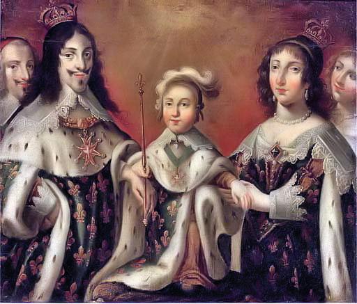 左からリシュリュー枢機卿、父ルイ13世、幼少のルイ14世、母アンヌ・ドートリッシュ