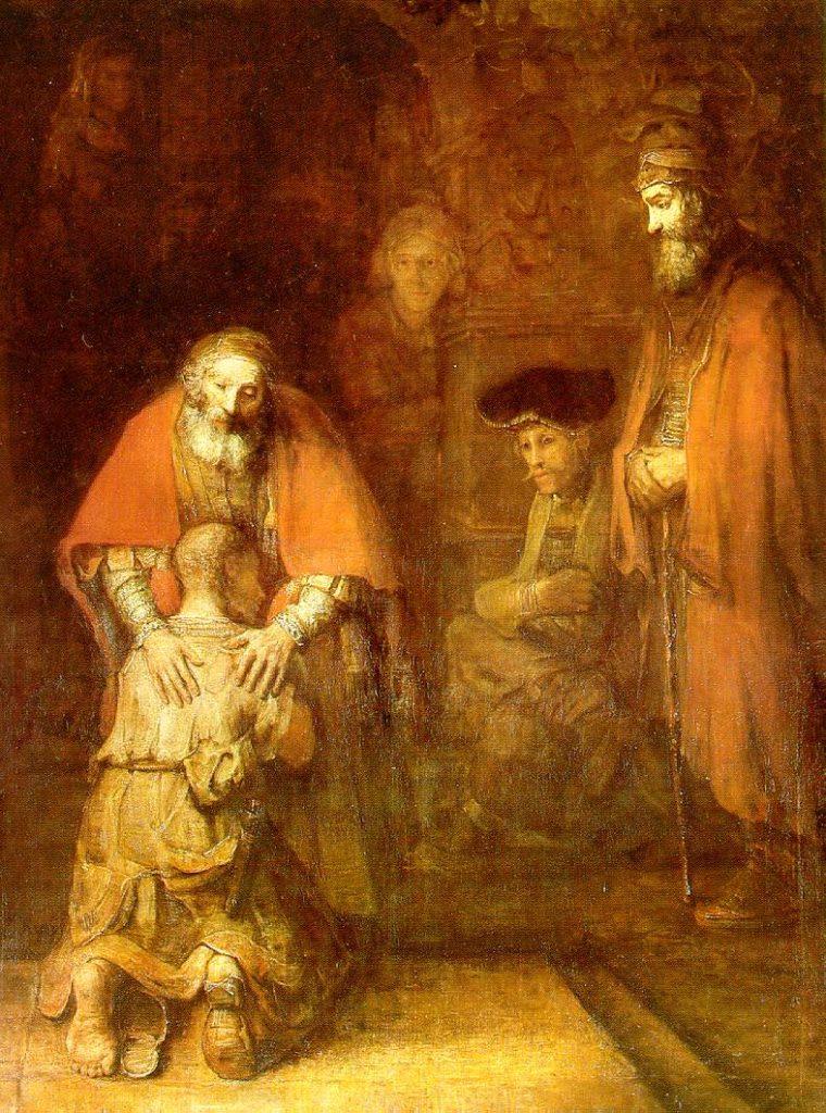 『放蕩息子の帰還』、1666年-1668年、エルミタージュ美術館。晩年の聖書画。