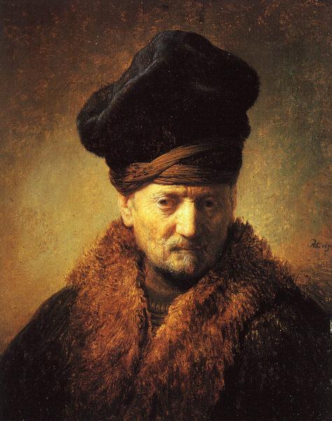 毛皮の帽子をかぶった老人の胸像、芸術家の父、1630