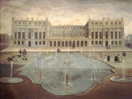 1675年に庭に面した宮殿のファサード テラス