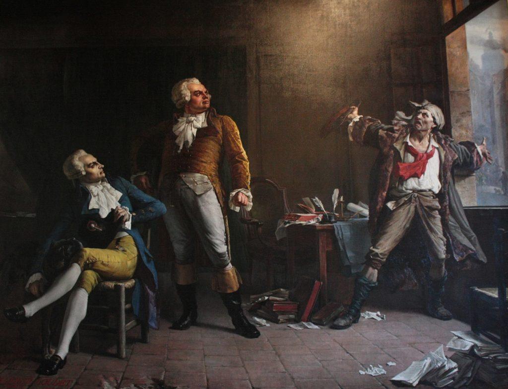 ロブスピエール、ダントン、マラトの間の架空の会議