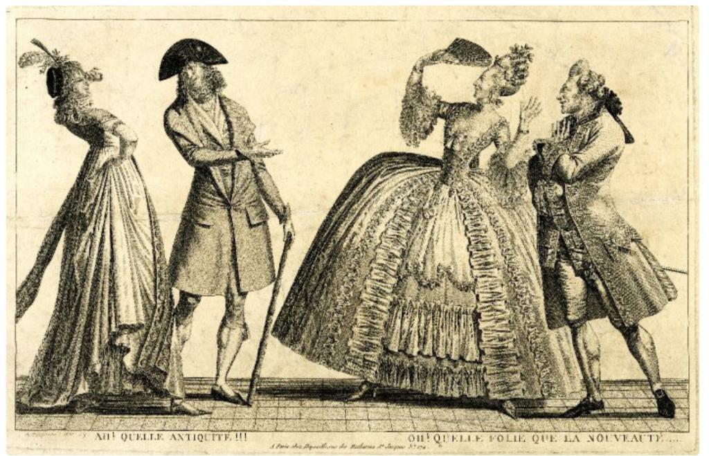 二組のカップルが互いのファッションセンスをあざけっており、左側に「ヌーベルリッシュ」、右側に「古代レジーム」、つまり古いガードが描かれている。