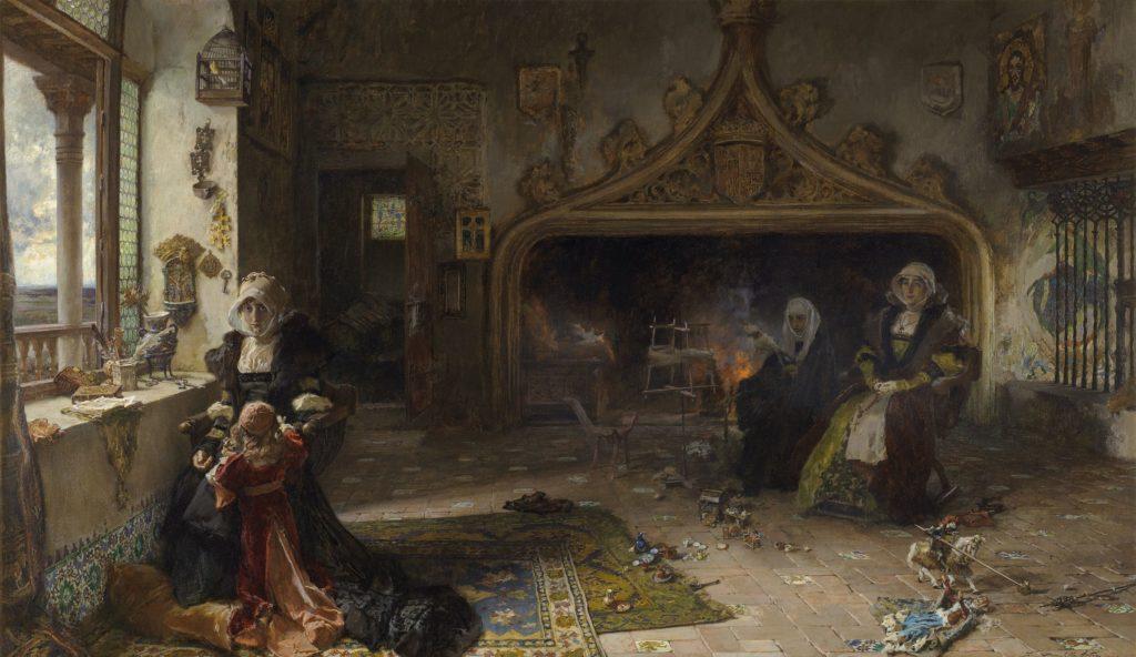 トルデシリャスに収監されている狂人フアナとその娘カタリナ