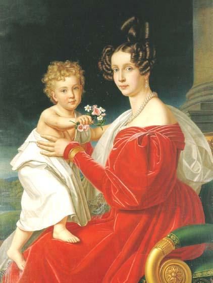 ゾフィーと長男のフランツ・ヨーゼフ、1830年頃[1]