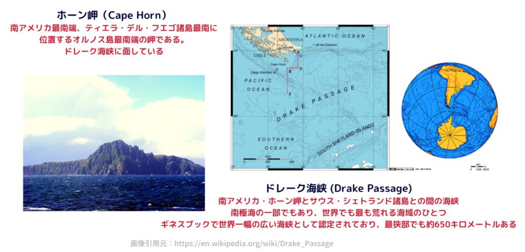 ホーン岬と、ドレーク海峡