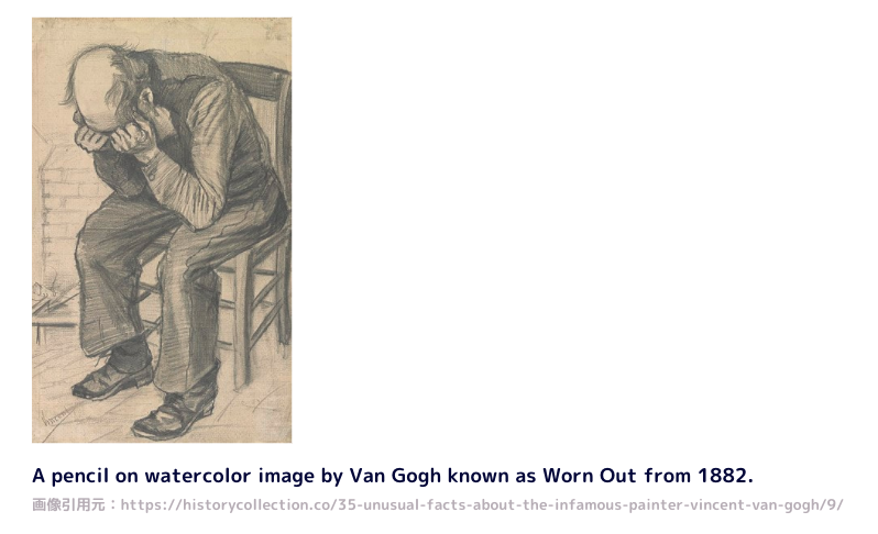 A pencil on watercolor image by Van Gogh known as Worn Out from 1882.