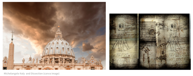Michelangelo Italy and Dissection (canva image)