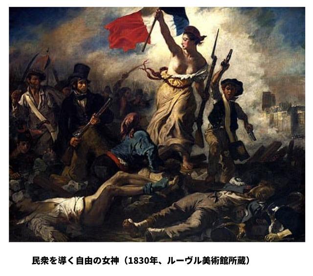 民衆を導く自由の女神(1830年、ルーヴル美術館所蔵)